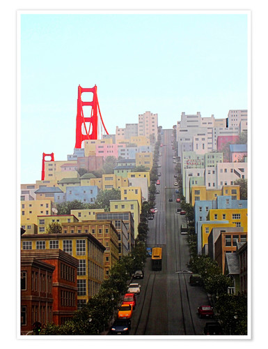 Premium poster San Francisco and Golden Gate Bridgee