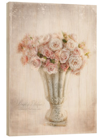 Wood print  Romantic roses - Lizzy Pe