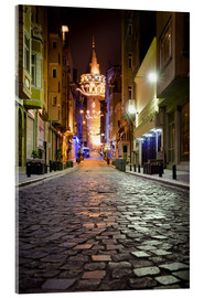 Acrylic glass  The famous Galata-Tower at night (Istanbul/Turkey) - gn fotografie