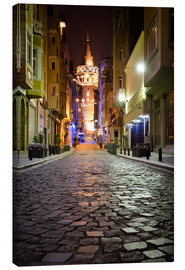 Canvas  The famous Galata-Tower at night (Istanbul/Turkey) - gn fotografie