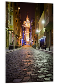 Foam board print  The famous Galata-Tower at night (Istanbul/Turkey) - gn fotografie