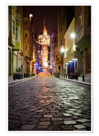 Poster The famous Galata-Tower at night (Istanbul/Turkey)