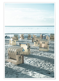 Premium poster beach chairs at the beach in Duhnen (North sea/Germany)