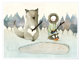 Premium poster The little Inuit girl and the wolf