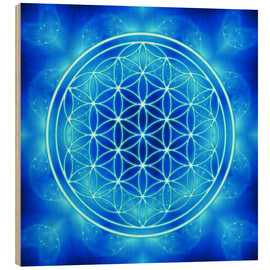 Wood print  Flower of life - archangel Michael - Dolphins DreamDesign