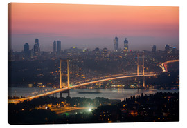 Canvas  Bosporus-Bridge at Night (Istanbul / Turkey) - gn fotografie