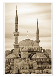 Premium poster the blue mosque in sepia (Istanbul - Turkey)
