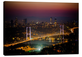 Canvas  Bosporus-Bridge at night - pink (Istanbul / Turkey) - gn fotografie
