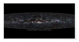 Premium poster Milky Way, labeled (german)