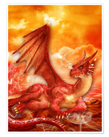 Poster  Red Power Dragon - Dolphins DreamDesign