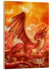 Wood print  Red Power Dragon - Dolphins DreamDesign
