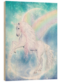 Wood print  Rainbow Unicorn Pegasus - Dolphins DreamDesign