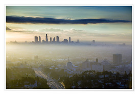 Premium poster LA skyline in the morning fog