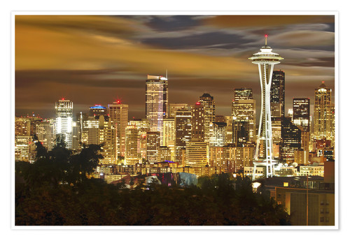 Premium poster Nightly skyline of Seattle