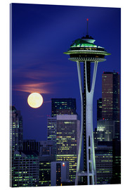 Acrylic glass  Space Needle at full moon - William Sutton