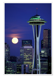Premium poster Space Needle at full moon