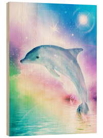Wood print  Rainbow dolphin - Dolphins DreamDesign
