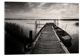 Acrylic print  Wooden pier on lake, black and white - Frank Herrmann