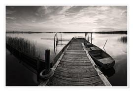 Premium poster Wooden pier on lake, black and white