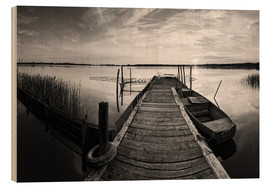 Wood  Wooden pier on lake with fishing boat - black and white - Frank Herrmann