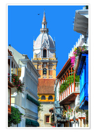 Premium poster  Church in Cartagena, Colombia - HADYPHOTO