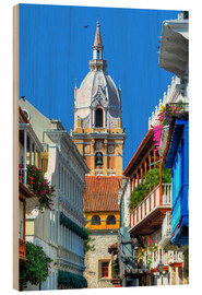 Wood print  Church in Cartagena, Colombia - HADYPHOTO