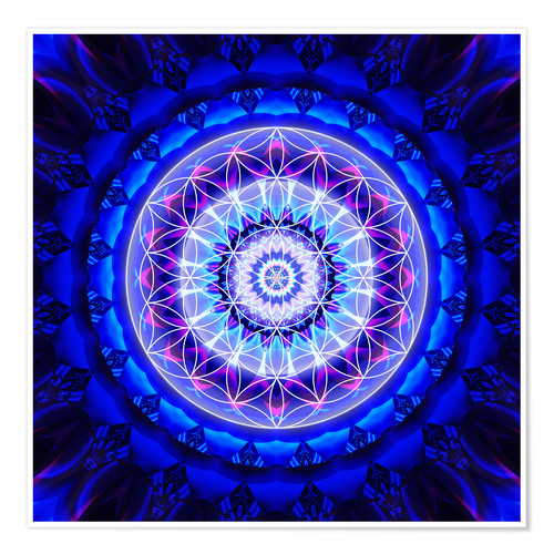 Premium poster Mandala safety with flower of life