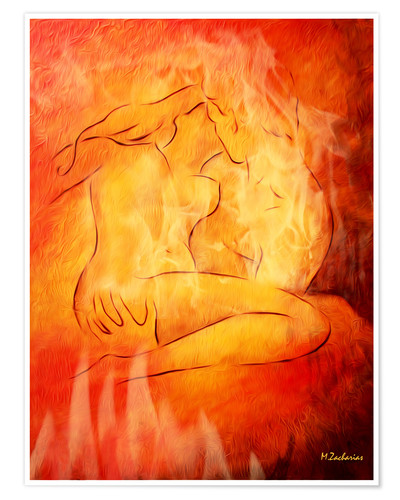Premium poster Flaming erotic - lovers