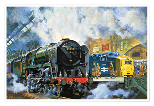 Premium poster Evening Star, the last steam locomotive and the new diesel-electric Deltic
