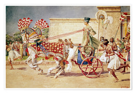 Premium poster  Nefertiti in her royal car - Fortunino Matania