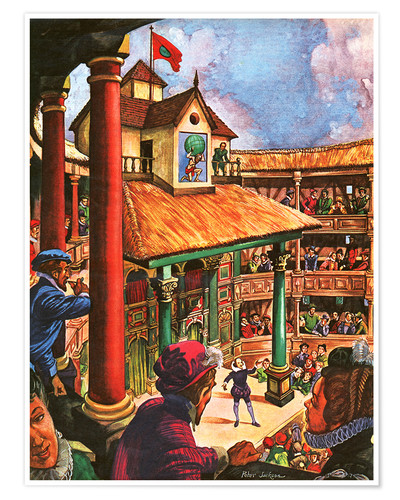 Premium poster Shakespeare performing at the Globe Theatre