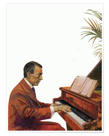 Premium poster Rachmaninoff playing the piano