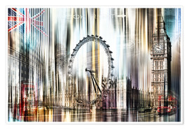 Premium poster  London Skyline Collage blue Sky - Städtecollagen