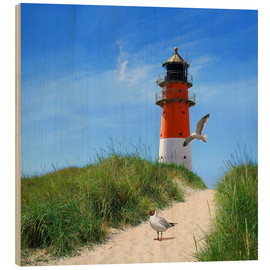 Wood print  On lighthouse at the dike - Monika Jüngling