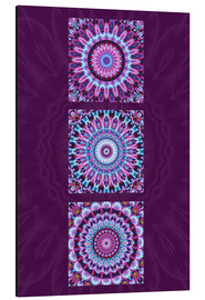 Alu-Dibond  Mandala Collage purple - Christine Bässler