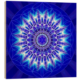 Wood print  Spirituality with Mandala Flower of Life - Christine Bässler