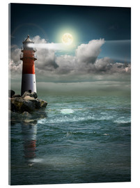 Acrylic glass  Lighthouse by moonlight - Monika Jüngling