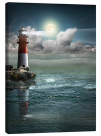 Canvas  Lighthouse by moonlight - Monika Jüngling