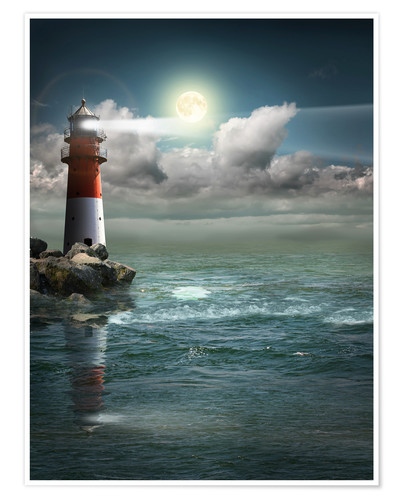 Premium poster Lighthouse by moonlight