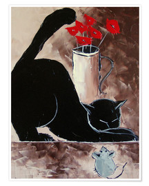 Premium poster Black cat and mechanical mouse