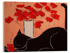 Wood print  Black cat with poppies - JIEL