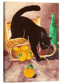 Canvas print  Black cat back from the market - JIEL