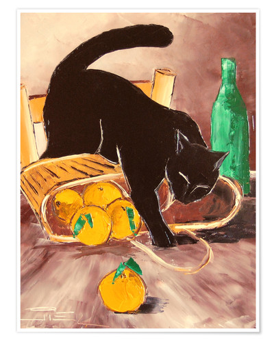 Premium poster Black cat back from the market