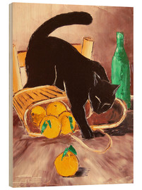 Wood print  Black cat back from the market - JIEL