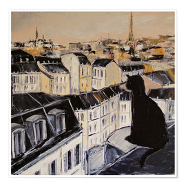 Poster  Black cat on a roof in Paris - JIEL