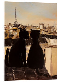 Acrylic glass  Cats on the roofs of Paris - JIEL