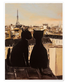 Poster  Cats on the roofs of Paris - JIEL