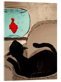 Acrylic print  Black Cat with Goldfish - JIEL