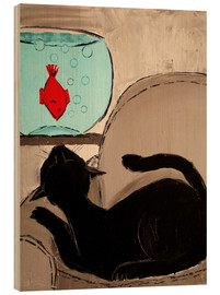 Wood print  Black Cat with Goldfish - JIEL