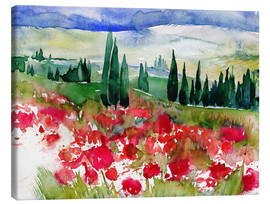 Canvas print  Tuscan Poppies - Jitka Krause
